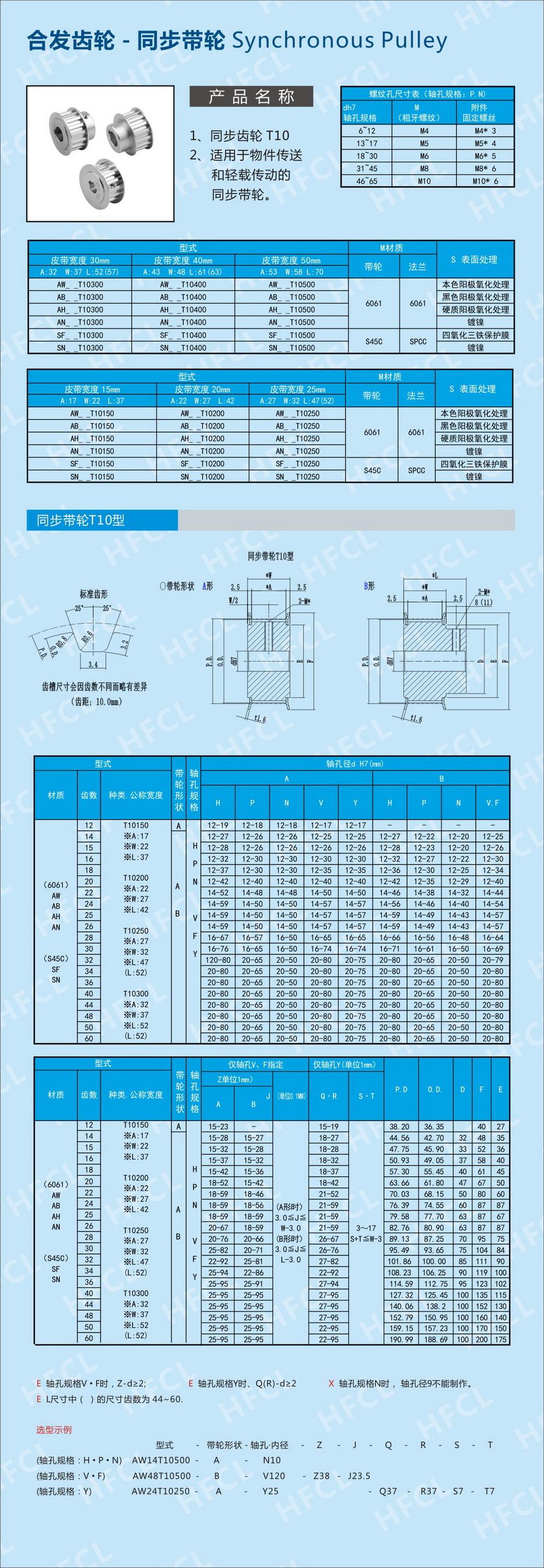 h型同步带轮参数_同步皮带轮规格T10型号_深圳市合发齿轮机械有限公司