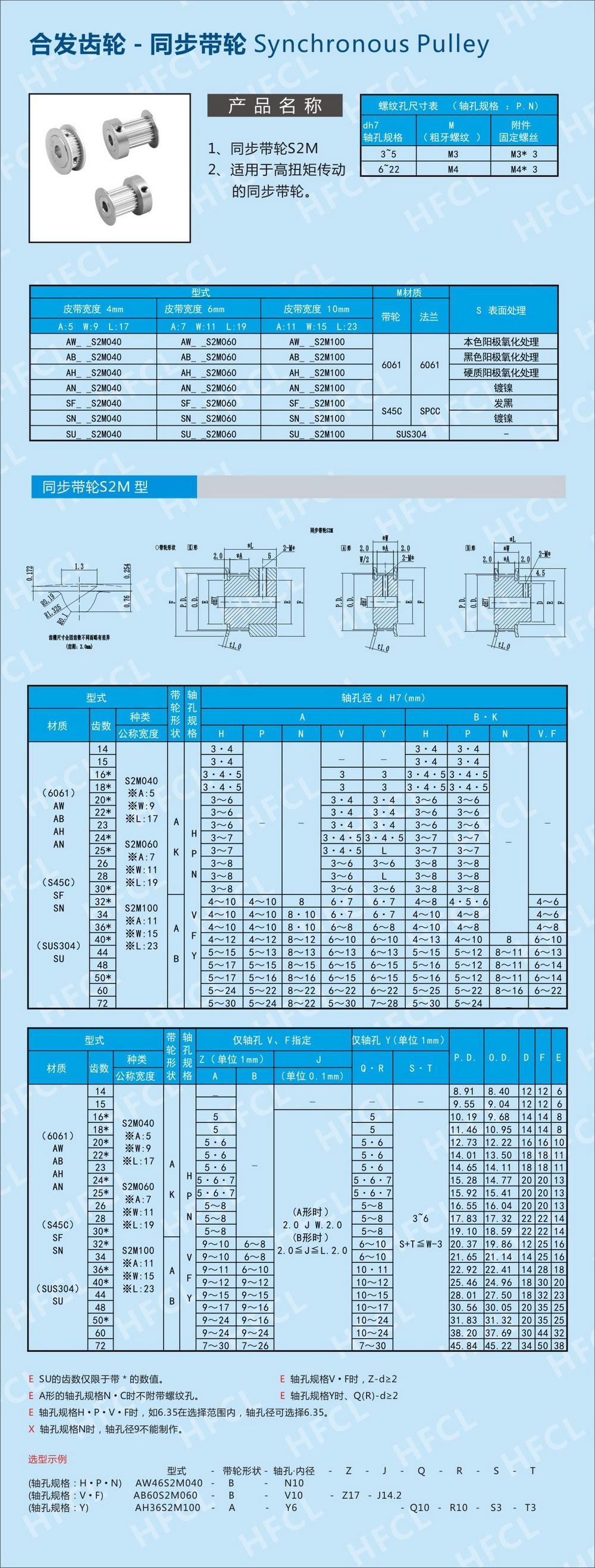 h型同步带轮参数_S2M同步带轮 _尺寸_深圳市合发齿轮机械有限公司