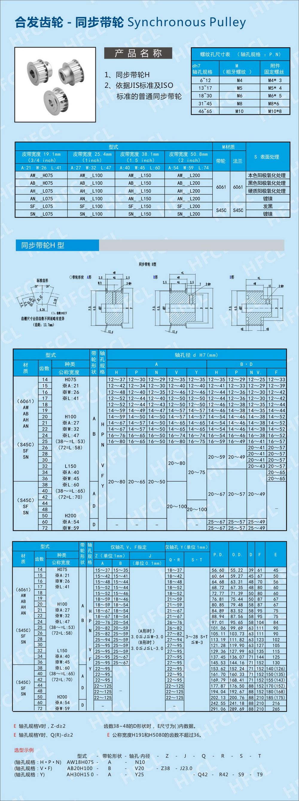 h型同步带轮参数_H型同步带轮规格尺寸_深圳市合发齿轮机械有限公司